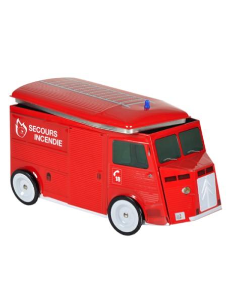 Boite de galettes bretonnes, décor camionnette de pompiers, marque « Biscuiterie Saint Guénolé »