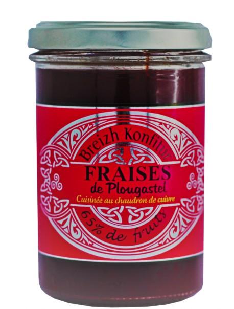 Confiture de fraises de Plougastel(allégée en sucre), marque « Breizh Konfitur »