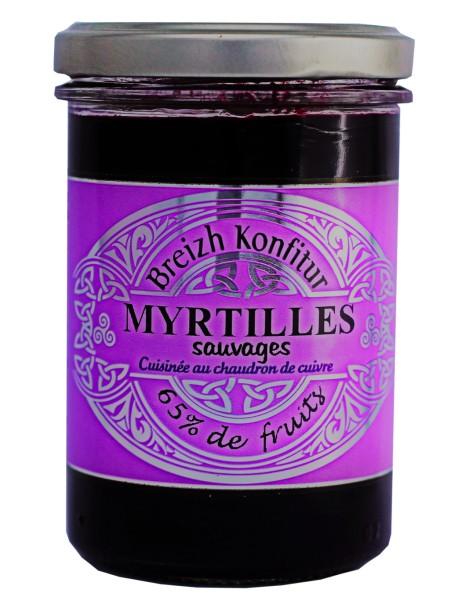 Confiture de myrtilles sauvages (allégée en sucre), marque « Breizh Konfitur»