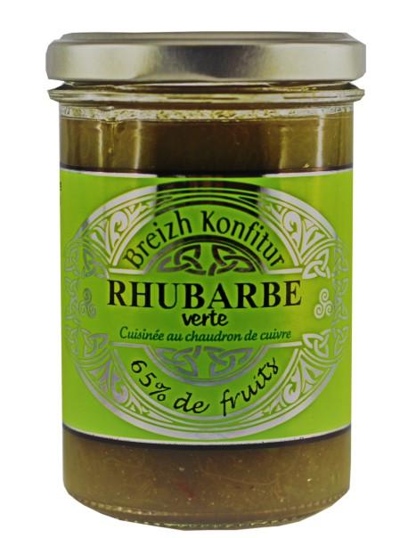 Confiture de rhubarbe verte (allégée en sucre), marque « Breizh Konfiture »